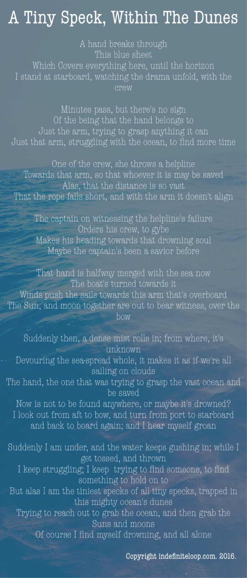 A Tiny Speck, Within The Dunes - Poem - Copyright indefiniteloop.com