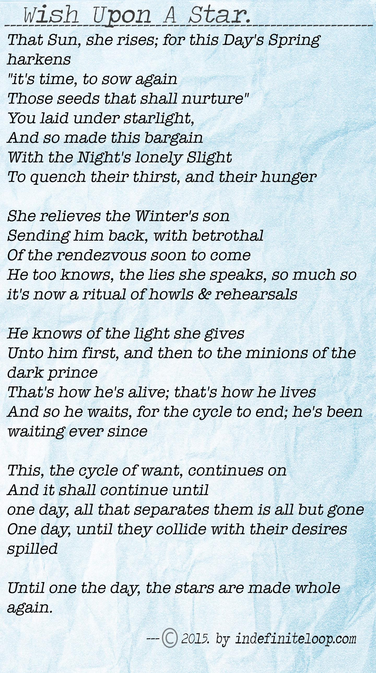 Wish Upon A Star - Poem - Copyright indefiniteloop.com