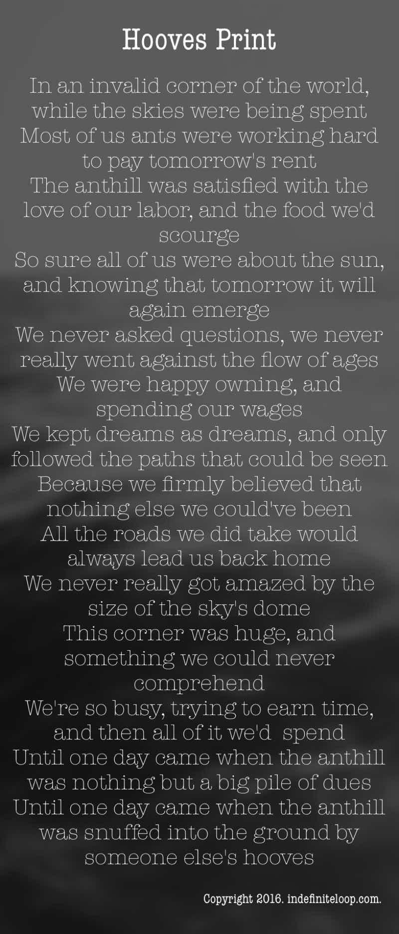 Hooves Print - Poem - Copyright indefiniteloop.com