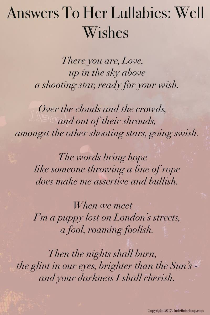 Answers To Her Lullabies: Well Wishes- Poem - Copyright indefiniteloop.com