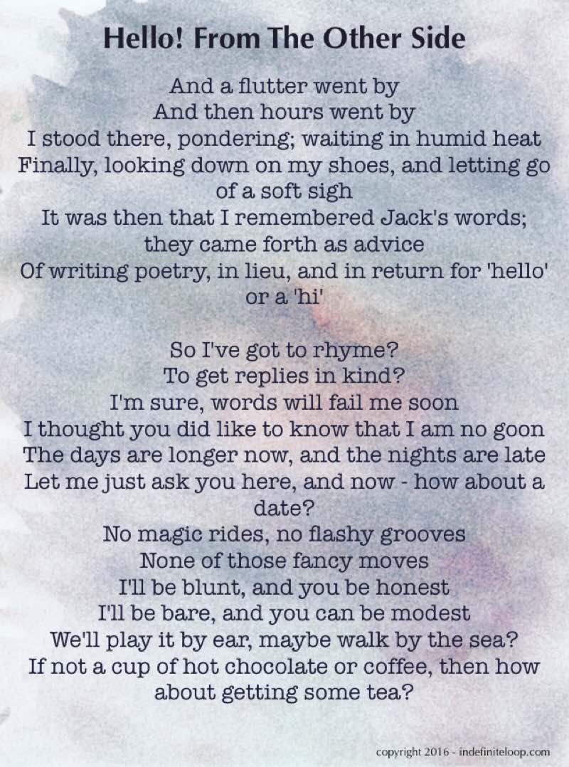 Hello! From The Other Side - Poem - Copyright indefiniteloop.com