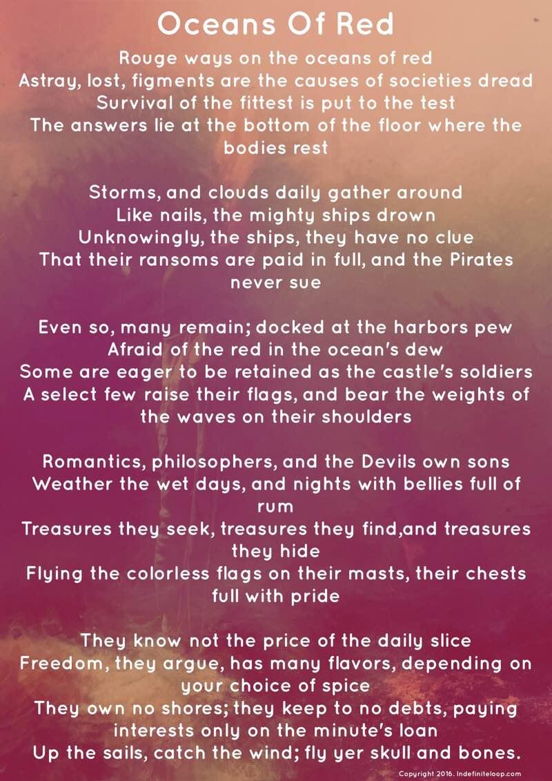 Oceans Of Red - Poem - Copyright indefiniteloop.com