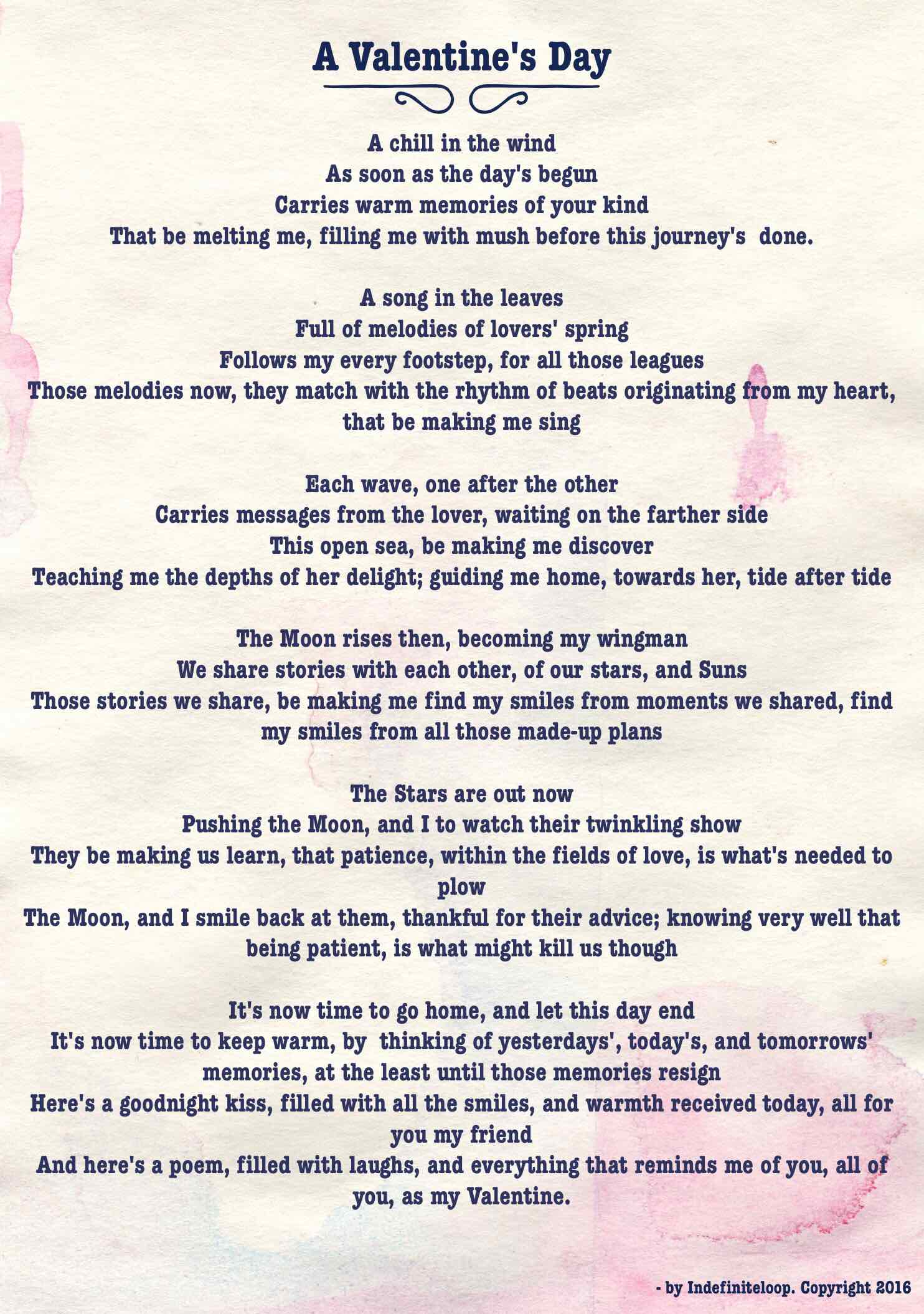 A Valentine's Day - Poem - Copyright indefiniteloop.com