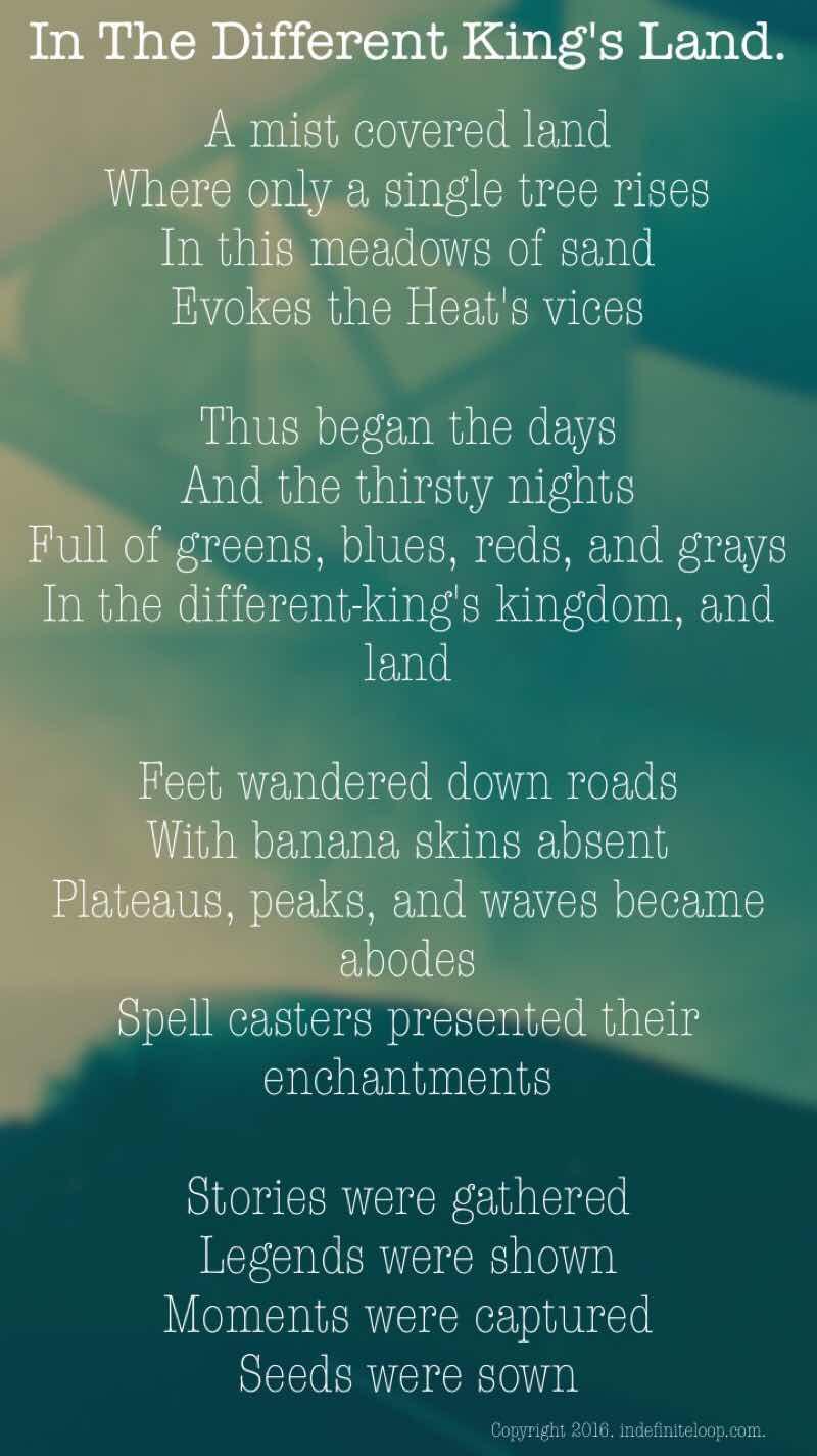 In A Different King's Land - Poem - Copyright indefiniteloop.com