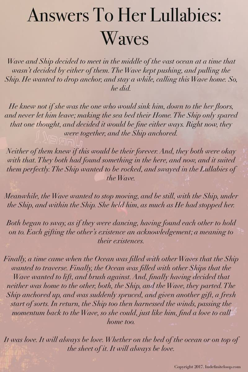 Answers To Her Lullabies: Waves - Poem - Copyright indefiniteloop.com