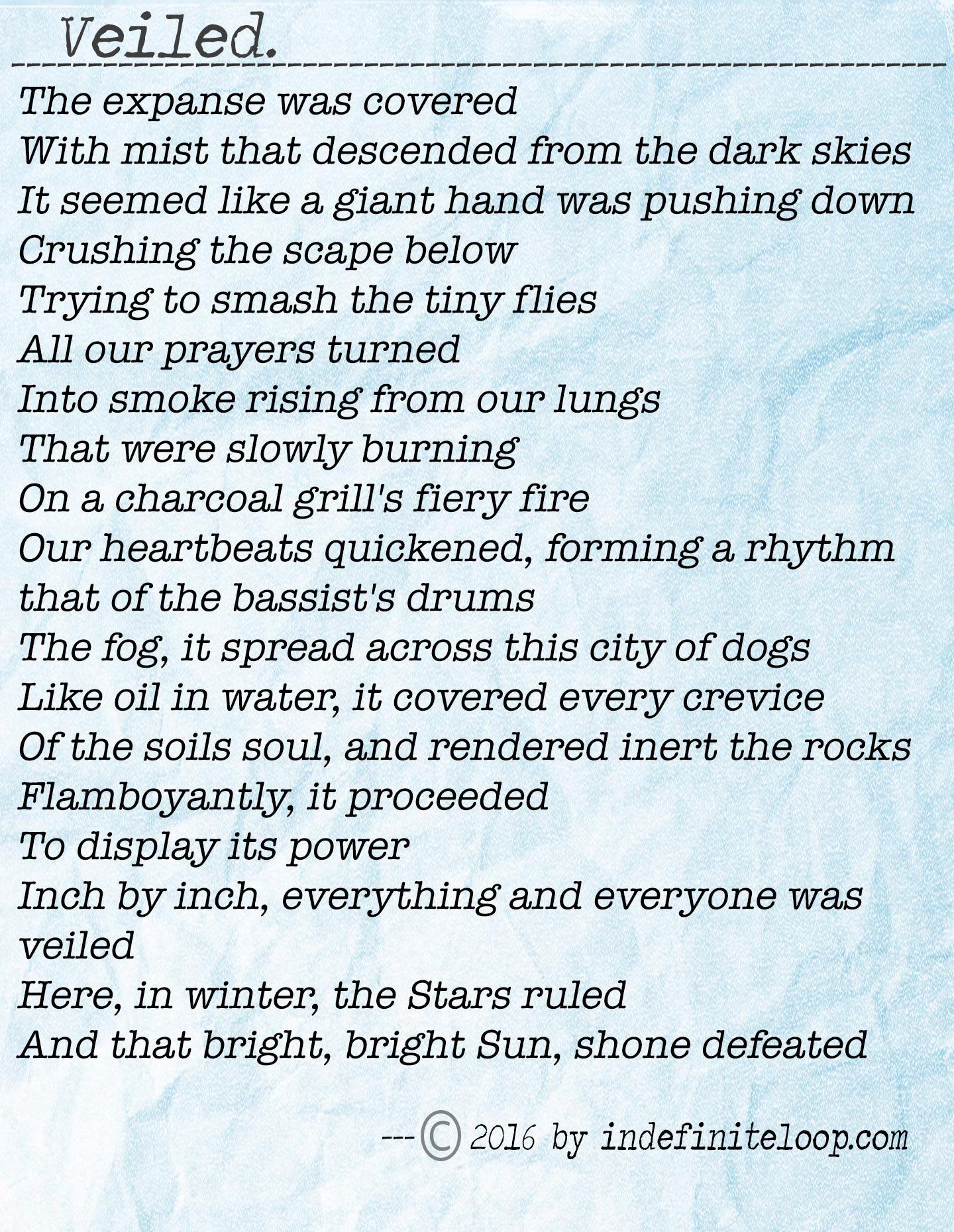 Veiled - Poem - Copyright indefiniteloop.com