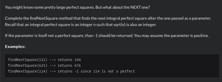 Python Kata: Finding The Next Perfect Square, Given A Previous One.