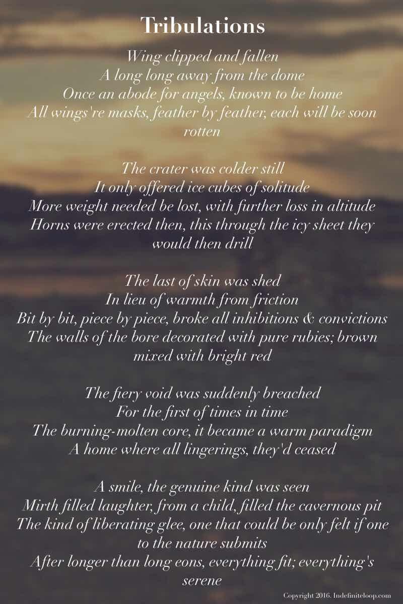 Tribulations - Poem - Copyright indefiniteloop.com