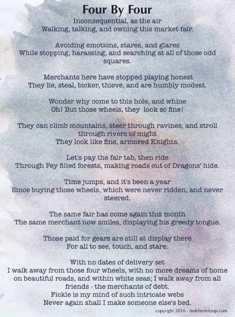 Four By Four - Poem - Copyright indefiniteloop.com