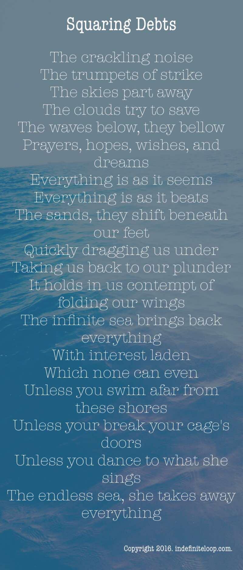 Squaring Debts - Poem - Copyright indefiniteloop.com