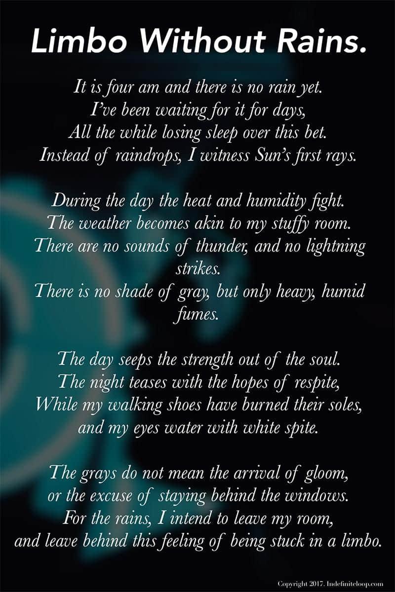 Limbo Without Rains - Poem - Copyright indefiniteloop.com
