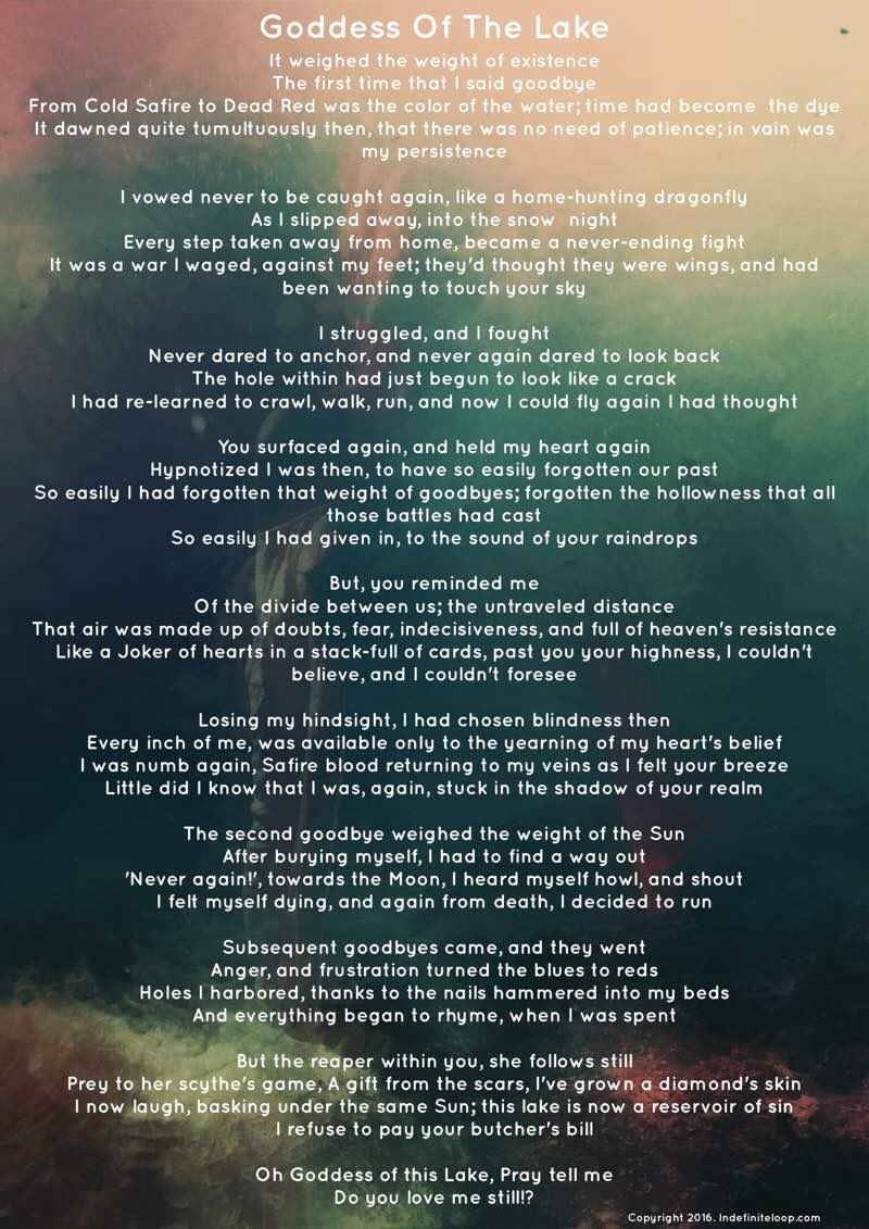 Goddess Of The Lake - Poem - Copyright indefiniteloop.com